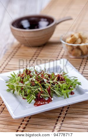 Sedum Salad And Red Sauce.