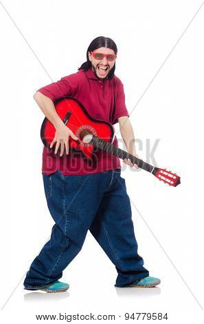 Fat man with guitar isolated on white