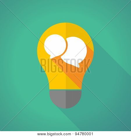 Long Shadow Light Bulb With A Comic Balloon
