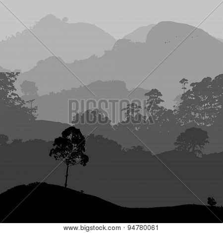 Gray Landscape Scenery With Hills And Forest Eps10
