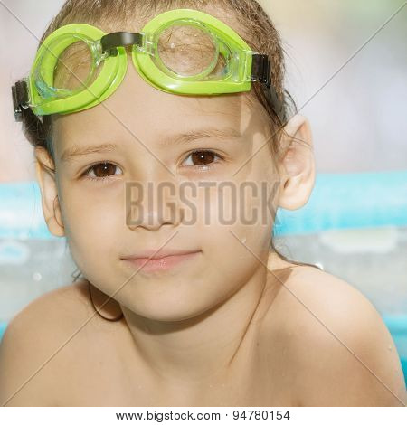 Little Girl In Green Goggles