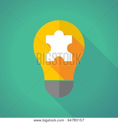 Long Shadow Light Bulb With A Puzzle Piece