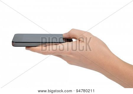 Woman hand holding smartphone isolated on white background