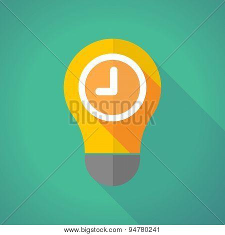 Long Shadow Light Bulb With A Clock