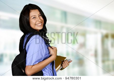 Female who is going to nursing school