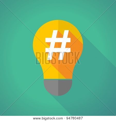Long Shadow Light Bulb With A Hash Tag