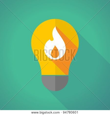 Long Shadow Light Bulb With A Flame
