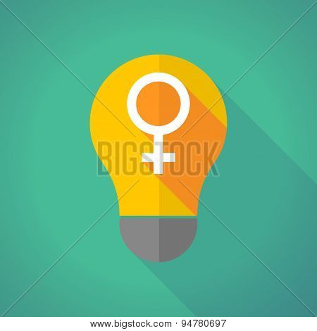 Long Shadow Light Bulb With A Female Sign