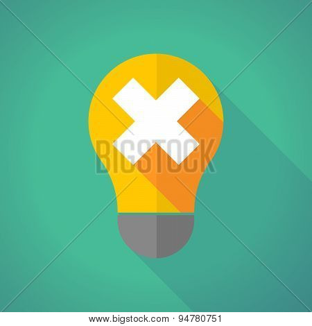 Long Shadow Light Bulb With An X Sign