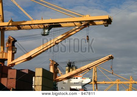 Gantry Cranes And Container Ships