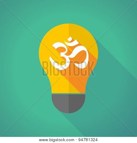 Long Shadow Light Bulb With An Om Sign