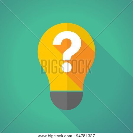 Long Shadow Light Bulb With A Question Sign