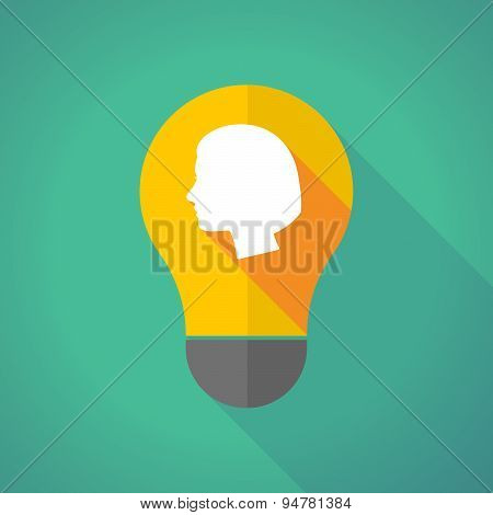 Long Shadow Light Bulb With A Female Head