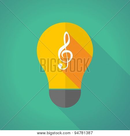 Long Shadow Light Bulb With A G Clef