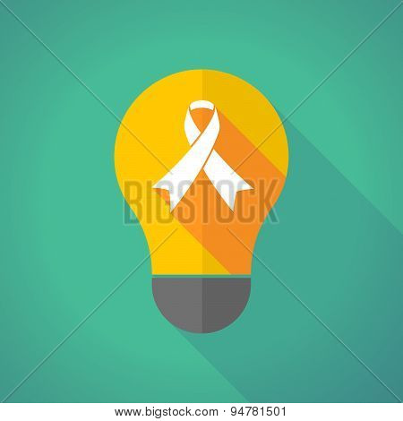 Long Shadow Light Bulb With An Awareness Ribbon