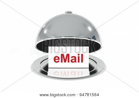 Silver Cloche With White Sign Email