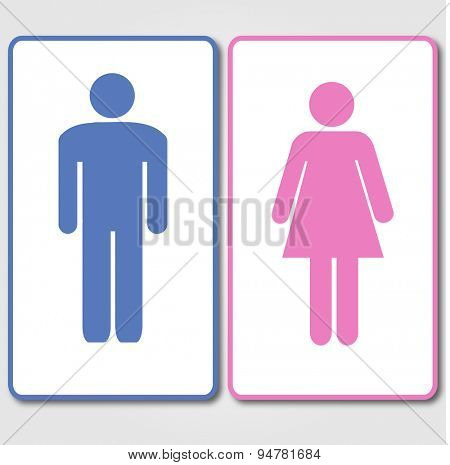 Blue and Pink Restrooms Sign