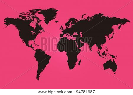 Pink and black world map illustration