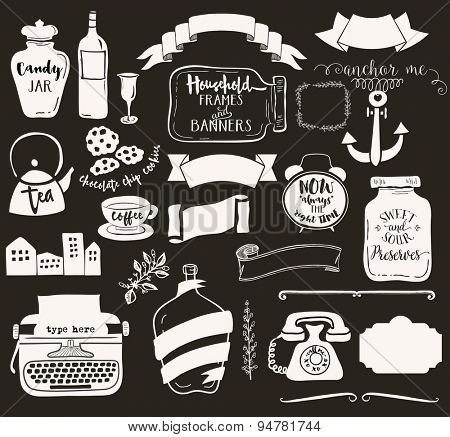Household Frames and Banners - Set of household objects, including jars, teapot, vintage typewriter, alarm clock and retro telephone, used as whimsical labels, and frames. Black and white, hand drawn