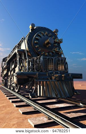 Old steam locomotive in the desert.