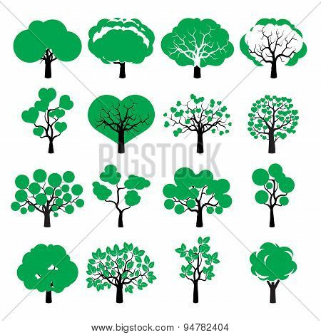 Set Of Color Vector Trees