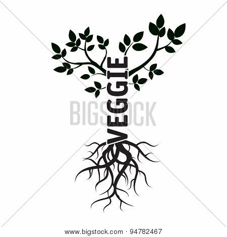 Tree, Leafs, Roots, And Text Veggie