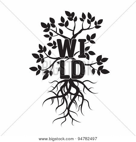 Vector Tree, Leafs, Roots, And Text Wild