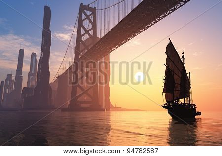 Old ship under the bridge of a modern city.
