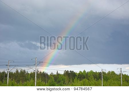 Rainbow On The Cloudy Sky. Background, Spring Scene