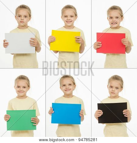 Collage Of Six Portraits Girls With Different Colored Monochromatic Cards
