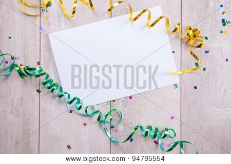 close up of a blank greeting card with decoration.