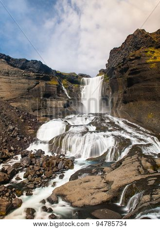 Beautiful Icelandic waterfall Oraerufoss. It is located on the South of the island, near Eldgja Canyon.