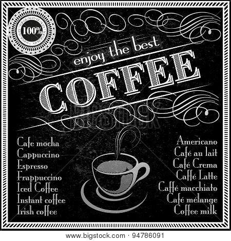 enjoy the best coffee  typography deisgn menu template