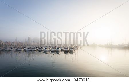 Beautiful sea port with yachts and boats