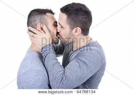A homosexual couple over a white background