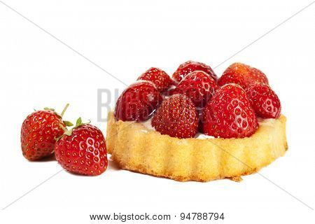 Strawberry tartlet and two fruits isolated on white background