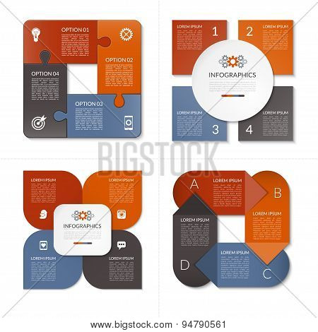 Collection of modern vector design templates for infographics