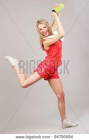 Sports Girl Joyfully Jumps