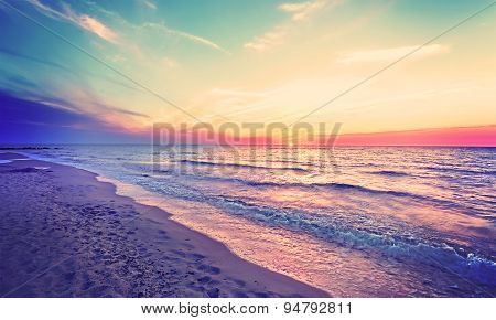 Magical Sunset Over Baltic Sea Coast, Miedzyzdroje In Poland.
