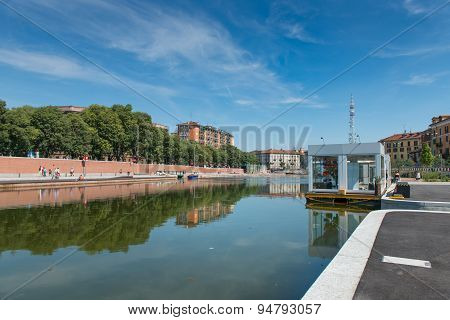 Milan, Italy - June 26, 2015:  The Darsena (a Fleet Of Milan) After Restructuring At Expo 2015