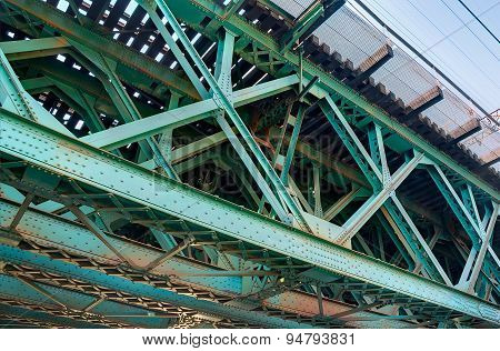 Closeup Of Green Train Bridge