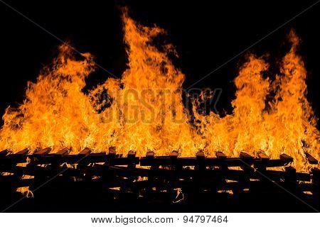 Fire Burning Wood Pile
