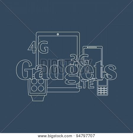 Vector illustration of gadget icons. Outline style.