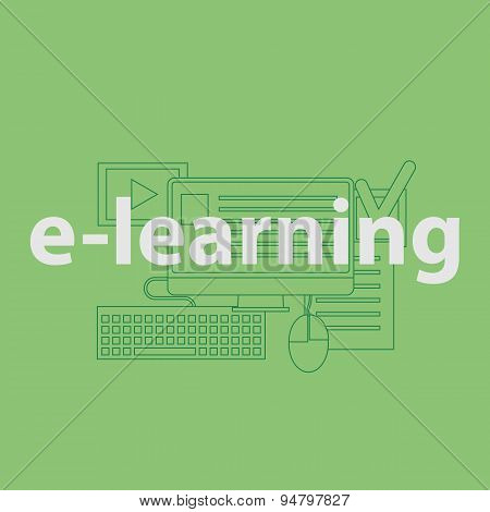 vector outline illustration concept for online education