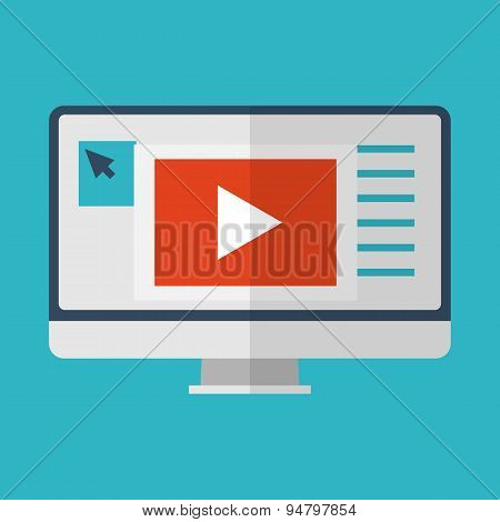 Flat design icon of multimedia