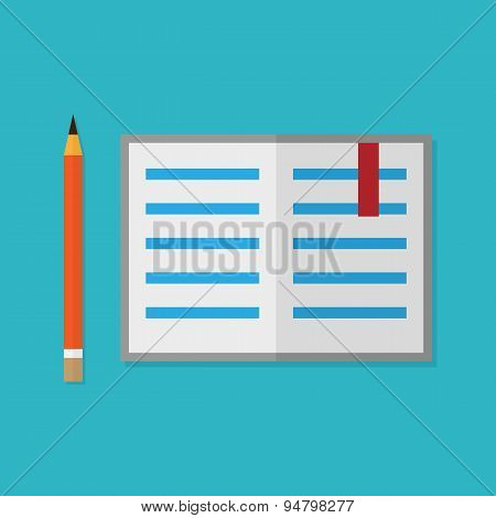 Flat style pencil and opened book. Vector illustration