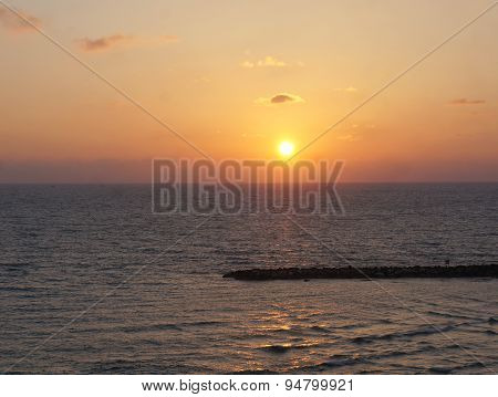 Sunset upon Mediterranean sea