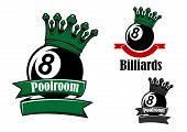 Постер, плакат: Crowned black billiards or pool ball