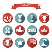 stock photo of medal  - set of white vector award success and victory flat icons on colorful round web buttons with trophies cups ribbons crown diadem medals medallions wreath and a podium - JPG