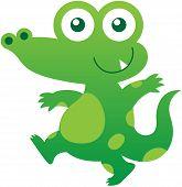 foto of crocodile  - Nice baby crocodile with green skin - JPG